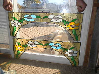 Vintage Antique Stain Glass Arc Windows Set of 2 Leaded Stained Glass Floral