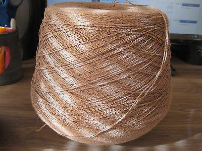Cone of Taupe brown machine yarn cotton