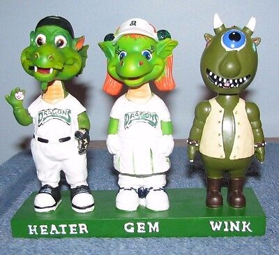 Dayton Dragons, Heater,gem & Wink Triple Bobblehead Very Limited