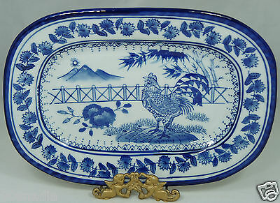 Vintage Porcelain Chinese Serving Tray/platter,blue & White W/ Rooster