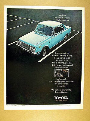 1970 Toyota Corona 2-door blue car photo vintage print Ad