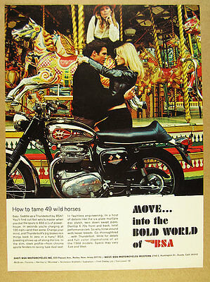 1968 BSA Thunderbolt motorcycle carousel ride color photo vintage print Ad