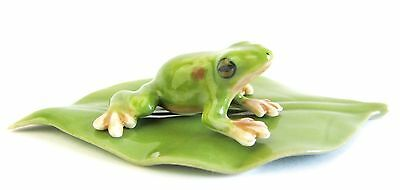 Miniature Porcelain Green Frog on Leaf- Very Tiny Figurine Set/2 Frog & Leaf