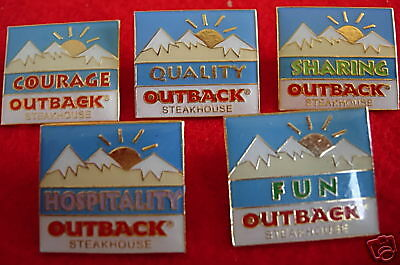 Lot 5 Values Series Outback Steakhouse Hat Lapel Pins