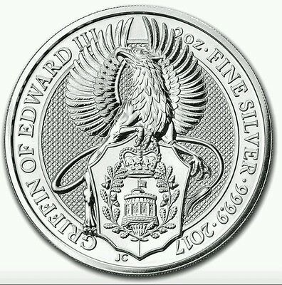 In Stock . 2017 Uk Queens Beast The Griffin 2 Oz Round