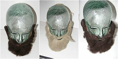 Vintage 1930s Lot Of 3 Flocked Halloween Make-Up Beards Masks Facial Disguises
