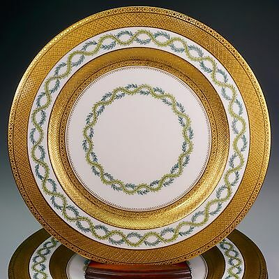 Coalport Eight Dinner Cabinet Plates Gold Encrusted Green Laurel~6068~ GORGEOUS