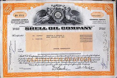 USA stock certificate Shell Oil Company, Inc.