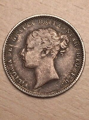 1871 Victorian Silver Sixpence; Die No 16; VF+ / Nearly EF - Rare