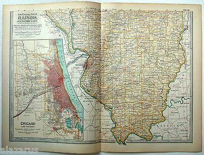 Original 1902 Map of Southern Illinois - A Finely Detailed Color Lithograph