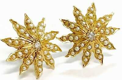 Antique 14K Yellow Gold Diamond & Seed Pearl Starburst Earrings,  5.3 Grams