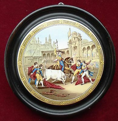 OLD LARGE PRATTWARE  WOOD MOUNTED POT LID No.244 ''THE BULL-FIGHT''