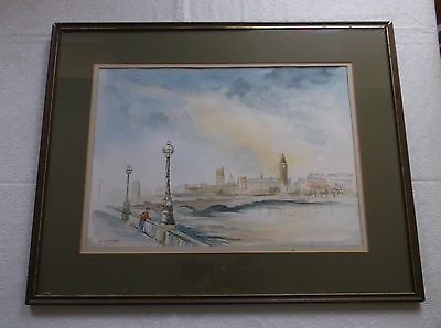 FRAMED WATERCOLOUR PAINTING by WENDY CLIFFORD A BRIDGE OVER THE RIVER THAMES