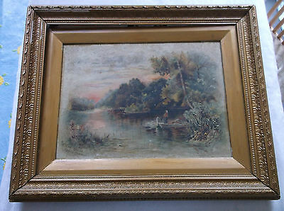 FRAMED OIL ON CANVAS PAINTING by C.HOWSON 1897 MARLOW REACH UPPER THAMES