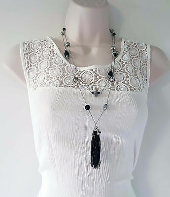 """gorgeous 26"""" long silver tone layered chain & bead necklace with tassel pendant"""