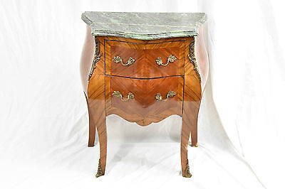 Antique Reproduction Wood Green Marble Night Stand / Side / End Table  FL