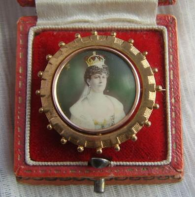 King GEORGE V & Queen MARY Finely Gilded Royal CORONATION Swivel Brooch 1910