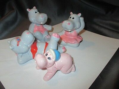 Adorable Bathroom Plant Decorator Figurines Hippopotamus A Day At The Beach