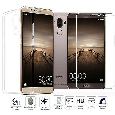 Tempered Glass & Soft Silicone TPU Protective Case Cover For Huawei Phones