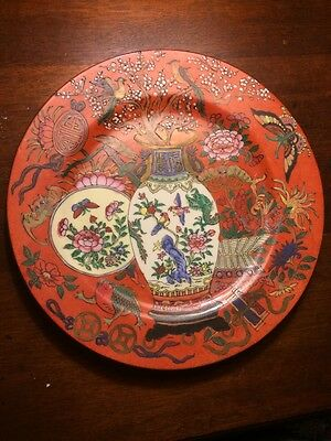 "beautiful hand decorated chinese plate moriage 10.25"" porcelain"