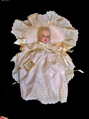 Vtg 1981 Gerber Baby  Bisque Doll with Christening Gown in Original Wicker Bed