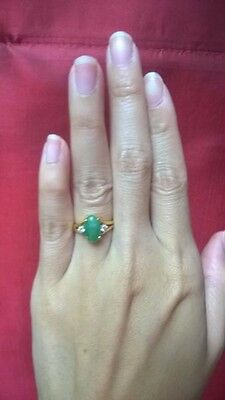 Antique/vintage Chinese 18k Yellow Gold & Jadeite green oval Ring with diamond