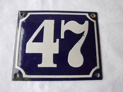 Antique German Porcelain House Number Plaque Enamel Steel Metal Sign 47