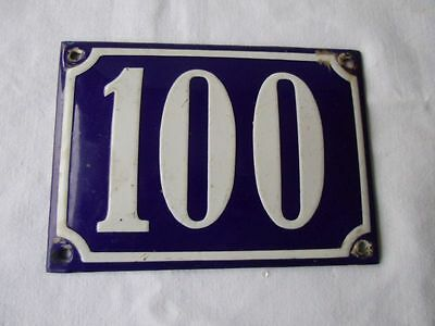 Antique German Porcelain House Number Plaque Enamel Steel Metal Sign 100