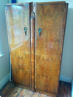 Antique Wardrobe - Walnut & Oak Art Deco