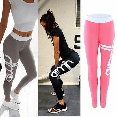 Womens Yoga Fitness Pencil Leggings Running Gym Stretch Sports Pants Trousers