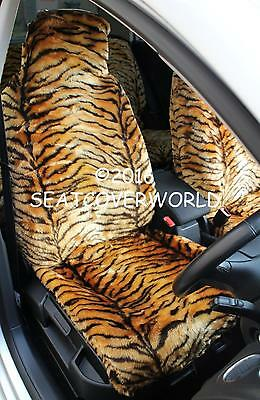 TIGER FAUX FUR FRONT CAR SEAT COVERS for CITROEN AX C1 C2 C3 Picasso C4 Cactus