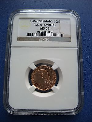 Wurttemberg 10 Mark 1904 Gold NGC MS-64 TOP! RR in UNC