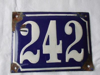Antique German Porcelain House Number Plaque Enamel Steel Metal Sign 242