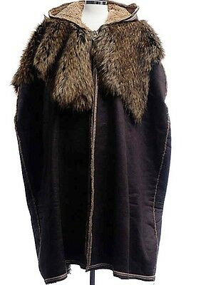 LARP MEDIEVAL SCA COSPLAY Costume Warm Faux Leather and Fur Cloak