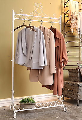 H180cm Large White Vintage Standing  Clothes Rail Clothing Rack With Shoe Shelf