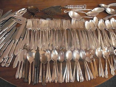 150 Pc Mixed Lot Silverplate/Antique Flatware/Serving   #92