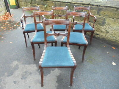 Matching Set 6 Antique Mahogany Dining Chairs