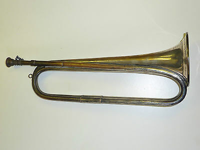 Antique Silver plated Boosey & Hawkes Made in England Bugle / Trumpet