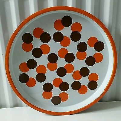 vintage 70s bar service tin metal tray Funky Orange and Brown spots