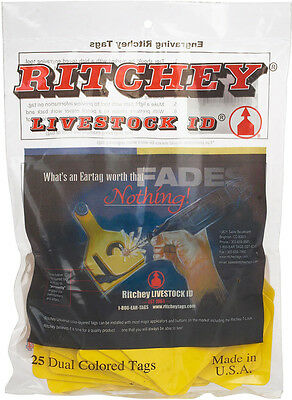 Ritchey Universal 3'' Blank Large Cattle ID Ear Tags Yellow/Black Center 25 ct