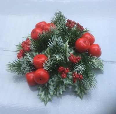 """3"""" Candle Ring Christmas Decoration Frosty Pine,Apple & Berry Fit Pillar Candles"""