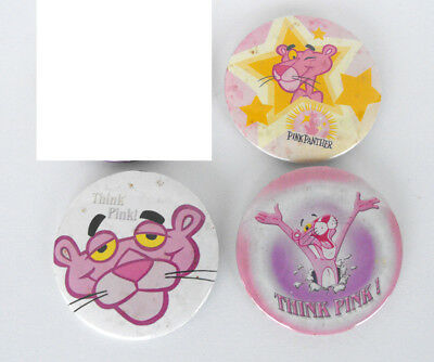RARE The PINK PANTHER Lot of 3 Metal BUTTONS 2 inches width good condition
