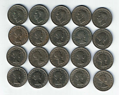 20 different sixpence coins dates from 1947 to 1967