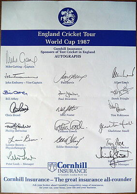 England Cricket World Cup Squad 1987 Autograph Sheet