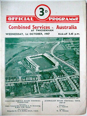 AUSTRALIA v COMB SERVICES RUGBY UNION PROGRAMME 1947