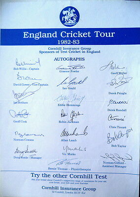 England To Australia 1982-83  Cricket Autograph Sheet