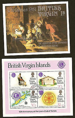 British Virgin Islands two used souvenir sheets - Scott # 421 and 429a