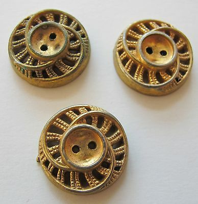 Vintage Buttons Brass Colored – Set Of 3