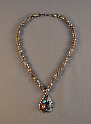 Vintage Navajo Pendant Choker  Necklace - Turquoise Coral - Betty Paul - 16""