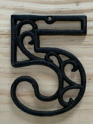 Vintage-Style Cast Iron Decorative Scroll NUMBER FIVE (5) Address Street House